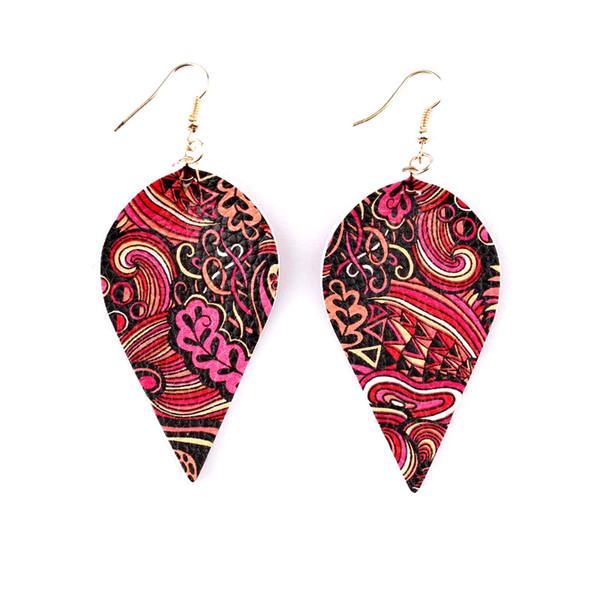 2019 Floral Print Vegan Leather Leaf Drop Earrings for Women Flower Paisley Printed Faux Leaves Leather Dangle Drop Earrings