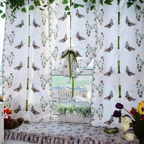 Estilo europeu e americano borboleta janela cortinas de tela de tule para sala de estar quarto bordado romano cortina bsb