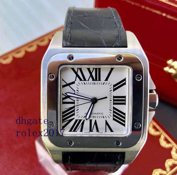 Männer Luxusprodukte Qualität Classic 100 Stahl XL Weißes Zifferblatt W20073X8 Lederband Pasha Marke Version Bewegung Automatische 28800bph Uhr