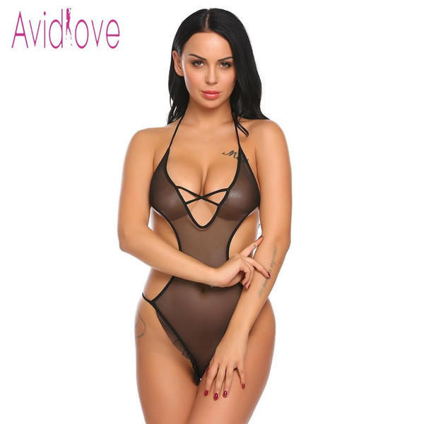 Avidlove 2018 Nueva Lencería Sexy Hot Erotic Underwear Women See-through Lace Mesh Backless One Piece ropa de dormir ropa sexual Y19070302