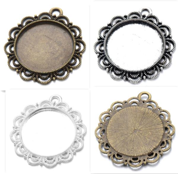 Es 25mm Runde Antike / bronze Glas / Cabochon Rahmen Lünette Einstellungen Anhänger Fach leer 10 teile / los K06014 Fit 25mm Runde Antike Silb ...