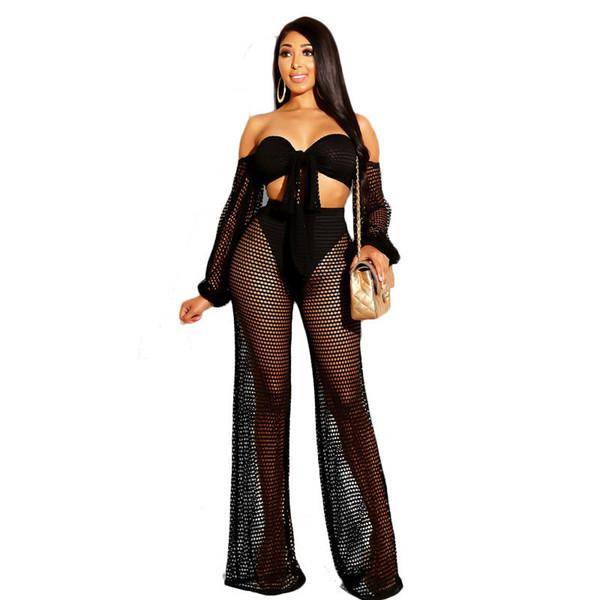 2019 Femmes Résille Mesh Sexy Deux Pièces Ensembles Été Nouvelle Party Outfits Arc Crop Top Pantalon Costume Femmes 2 Deux Pièce Plage Set