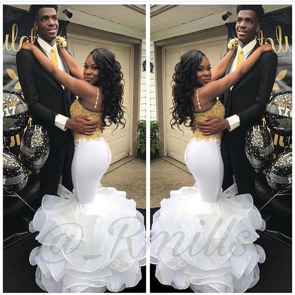 Ouro Appliqued Branco Africano Prom Dresses Sereia Spaghetti Tiras Plissado Saias Longos Vestidos de Noite Custom Made