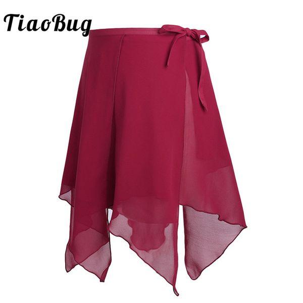TiaoBug Women Ballet Tutu Chiffon Skirts Professional Asymmetrical Dance Wrap Skirt Female Skate Stage Practice Dance Costume