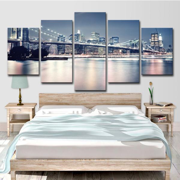 Pinturas em tela Sala de estar Decor Prints Posters 5 Peças Linda Brooklyn Bridge City Night View Fotos Wall Art
