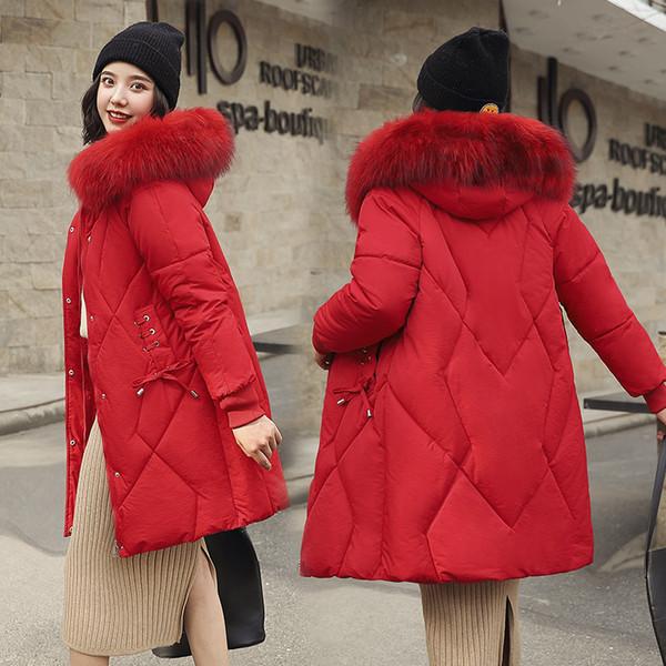 Longue section des femmes en gros sur l'hiver nouveau duvet de coton rembourré dames lonwinter nouveau grand col de fourrure slim down veste manteau Taille XS-XL