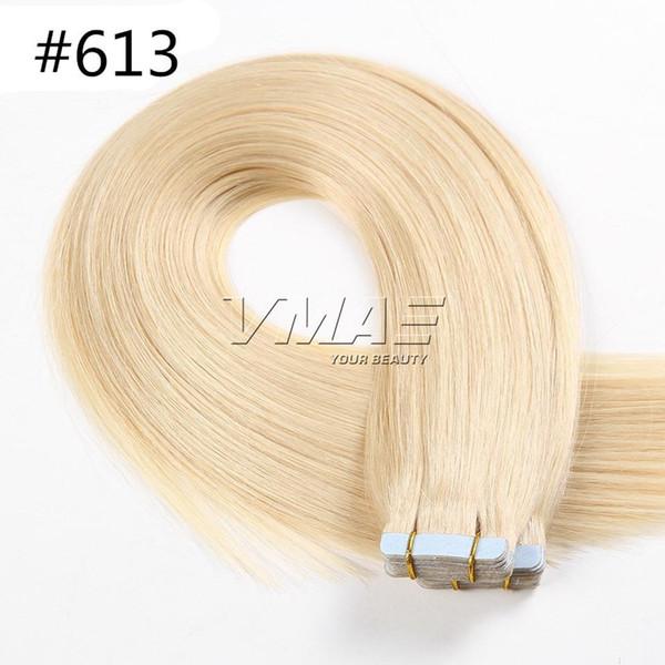 613 sarışın 2 # 4 # 1B # jet siyah doğal 2.5g 40 parça Tutkal Cilt Atkı 18 20 22 24 Inç Virgin yılında Rus Avrupa Bant İnsan Saç Uzantıları