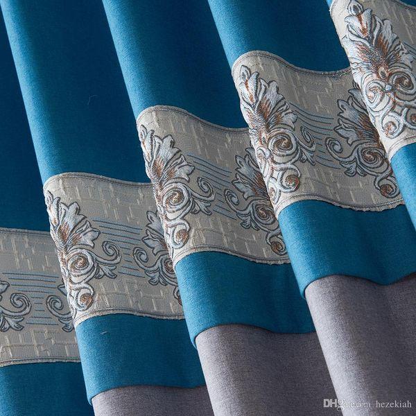Rideau en tissu broché brodé moderne chinois minimaliste moderne personnalisé salon chambre rideau fini gaze