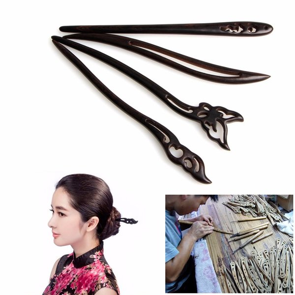 Fashion Chinese Traditional Womens Wooden Beads Clasps Hairpin Classical Lady Hair Stick