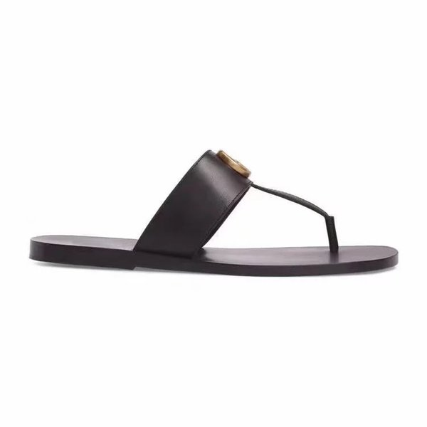 best selling fashion Black soft Leather Francis Thong Sandals mens and womens causal flat beach slip on sandals