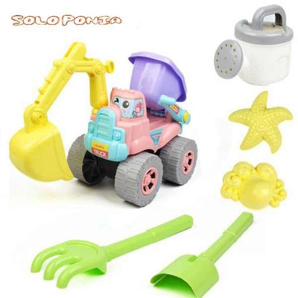 Kids Beach Sand Game Toys Set Including Shell Dolphin Shovels Rakes Truck Hourglass Kids Beach Pretend Role Play Toy HYX-688