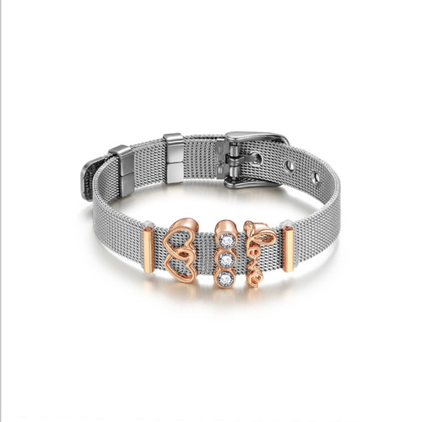 HOT wholesales romance LOVE bracelets with zircon crystal jewelry Delicate watch chain jewelry for lover 61196004E