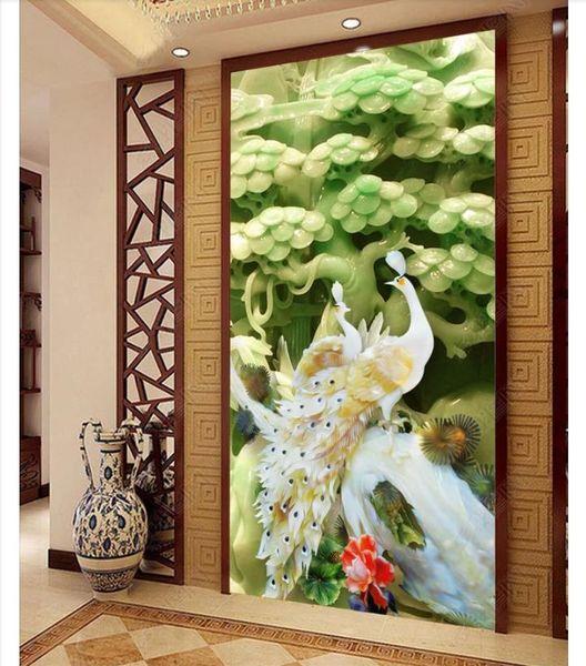 3D wallpaper custom photo silk mural wall paper 3D jade carving peacock porch mural background wall paeprs home decor