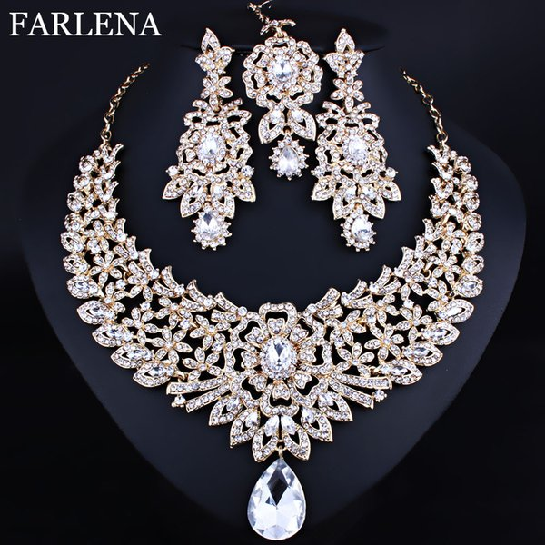 wholesale Classic Indian Bridal Necklace Earrings and Frontlet set Luxury Bridal Wedding Crystal Rhinestones Jewelry sets