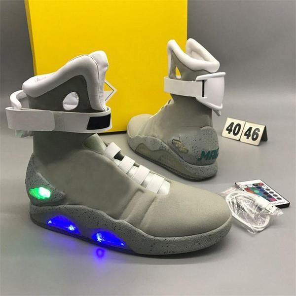Großhandel Final Version Air Mag Zurück In Die Zukunft Marty McFly LED Schuhe Im Dunkeln Leuchten Grau Schwarz Rot Mag Marty McFlys Sneakers Mit Box