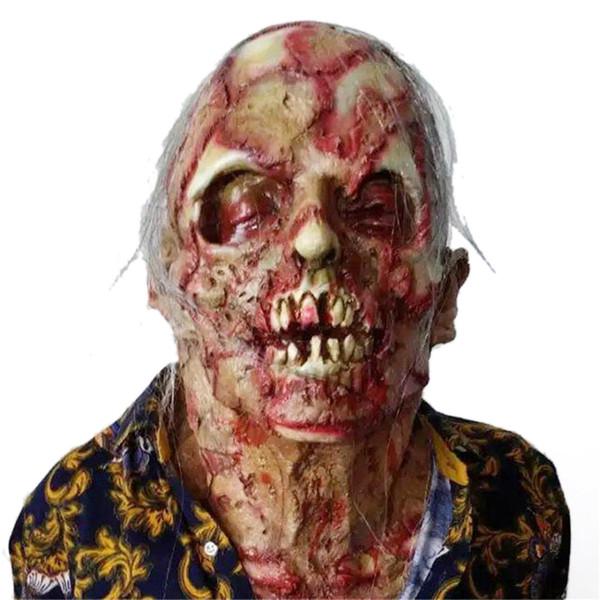 Horror Rotten zombie diavolo copertura del cranio Bloody Zombie Mask Melting Face Adulto Latex Costume Halloween Scary Prop