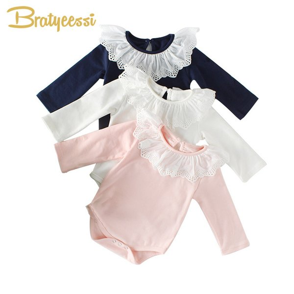 Princess Romper Lace Collar Cotton Rompers Long Sleeves Infant Jumpsuit Toddler Baby Girl Clothes 1pc Q190520