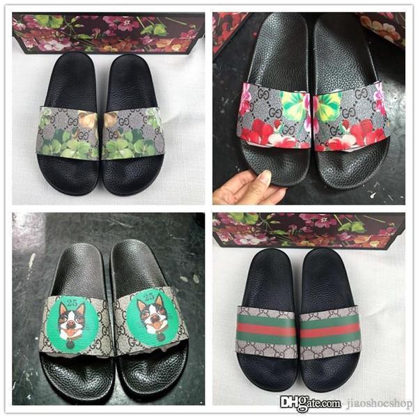 Дизайнер резиновая горка сандалии цветочные парча мужчины тапочки передач днища шлепанцы женщины полосатый пляж причинно-следственная тапочки с коробкой