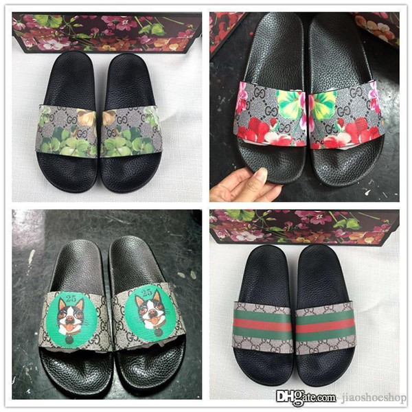 Designer Rubber slide sandal Floral brocade men slippers Gear bottoms Flip Flops women striped Beach causal slipper With box