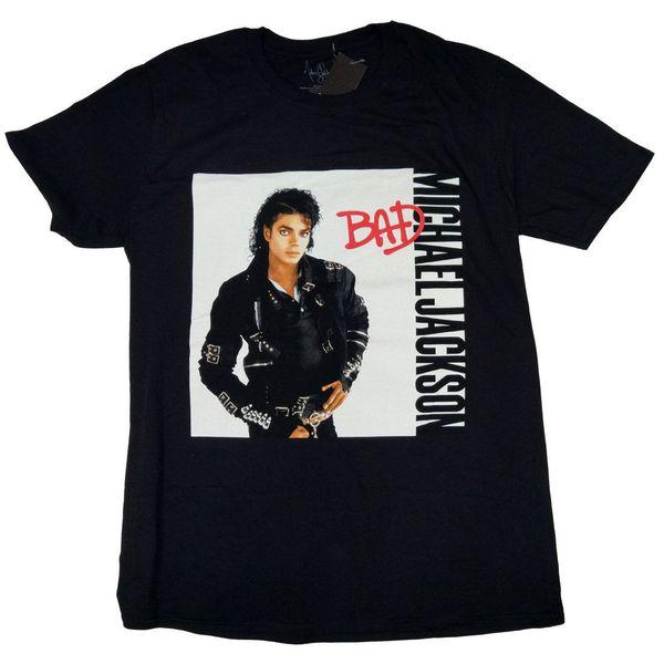 Michael Jackson T-Shirt - Bad Black 100% Pop Classic Top Kostenloser Versand T-Shirt