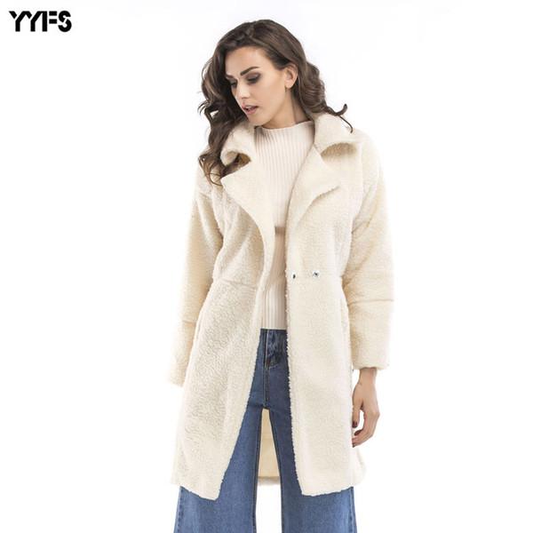 2019 кашемировые куртки с длинными рукавами с длинным рукавом в новой Европе и США крупногабаритные женские шерстяные смеси оптом