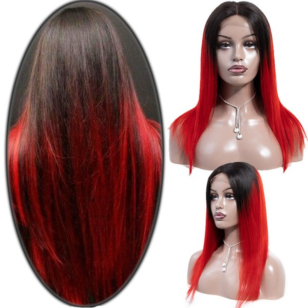 Peruvian Lace Front Human Hair Wigs For Black Women Remy Hair Straight Wig With Baby Hair Full End 1b/red green/blue