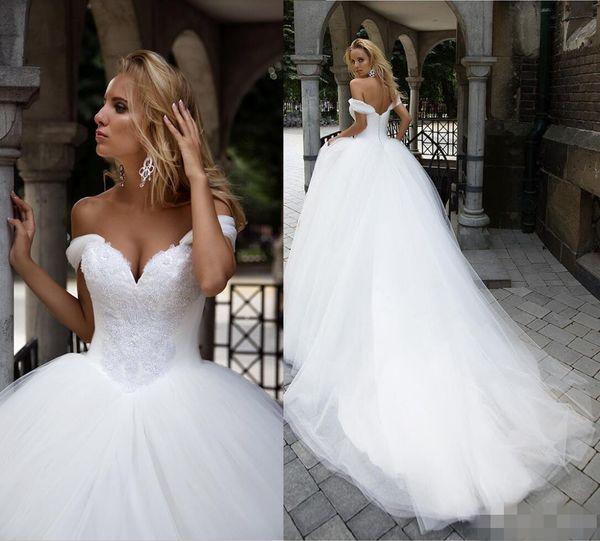 Luxury Beaded Crystal Ball Gown Wedding Dresses Off the Shoulder Cap Sleeves Tulle Custom Made Wedding Dress vestido de novia