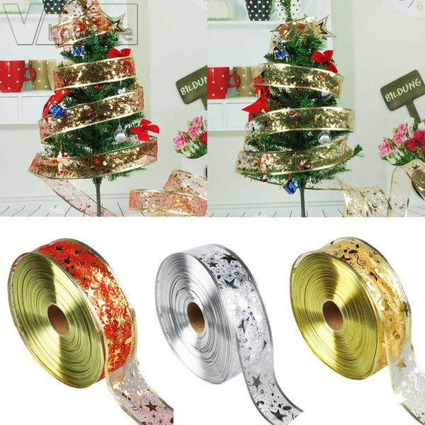 2Yards Organza Ribbon Christmas DIY Ribbons Christmas Tree Decorations for Home Festive Party Supplies Gold/Silver/Red