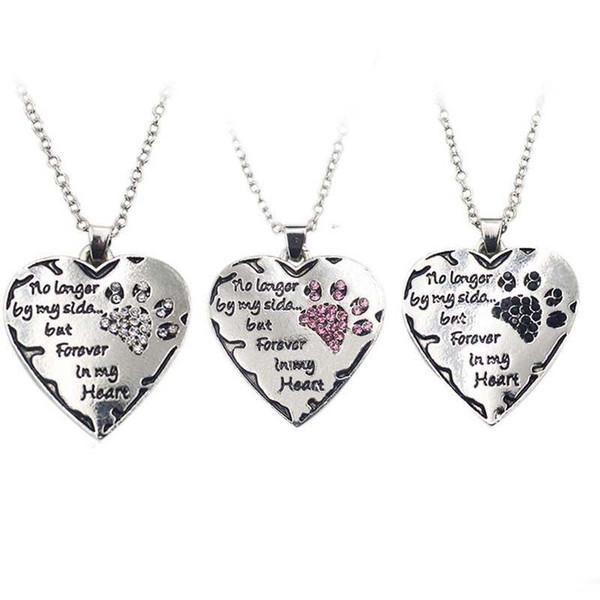 Nicht mehr an meiner Seite, sondern für immer in meinem Herzen Kristall Hund Pfote Herz Anhänger Halskette für Frauen Modeschmuck Weihnachtsgeschenk K3793