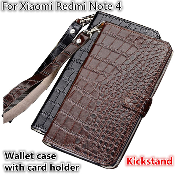 QX10 Crocodile Texture Gneuine Leather Wallet Case With Card Holders For Xiaomi Redmi Note 4 Phone Case Fundas With Lanyard