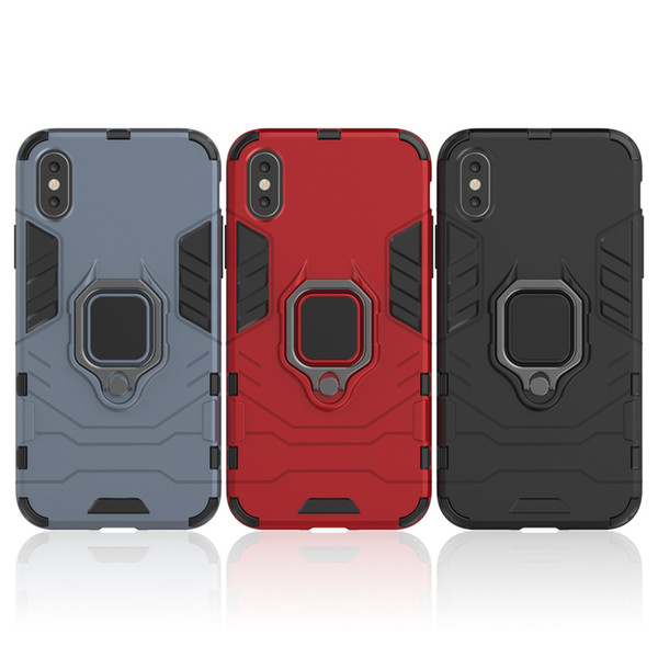 Car Magnetic Ring Stand Armor TPU PC Case For iPhone XR XS MAX X 8 7 6 Samsung S8 S9 Plus S10 S10E Note 9 A10 A30 A40 A50 A70 A80 A2 Core
