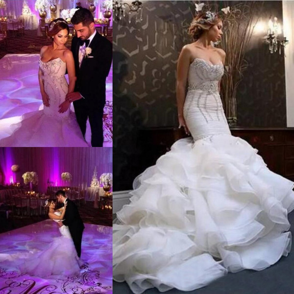 Crystal Beaded Ruffles Organza Plus Size African Wedding Dresses Mermaid 2019 Elegant Court Train Bridal Gowns Tiered Skirts Wedding Dress