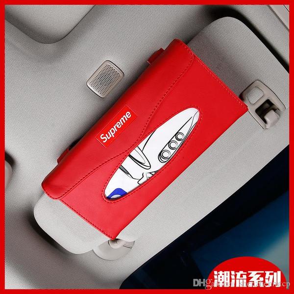 Nueva caja de pañuelos de coche de moda caliente para visera de sol PU de cuero colgante caja de pañuelos titular de sombrilla accesorios de coche