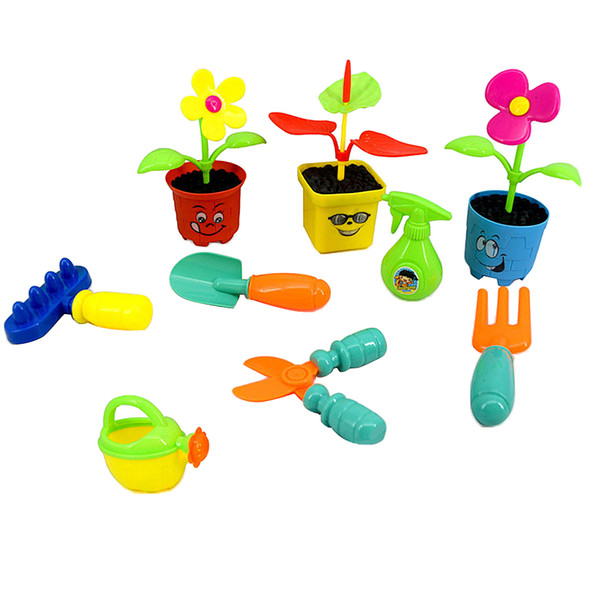 top popular 9 Pieces Pretend Garden Tools Toy Set Preschool Educational Toy for Toddlers, Planting Flowers Tool Set 2021