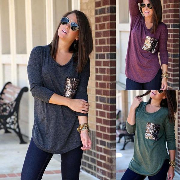 2018 осень женщины с длинным рукавом полиэстер блузки топы мода блестками украшения карман рубашки о-образным вырезом 3 цвета размер S-2XL