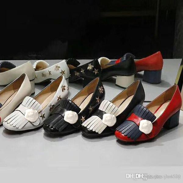 Klassische mittelhochhackige Bootsschuhe Designer Leder Beruf High Heels Schuhe Quasten runder Kopf Metallknopf Frau Abendschuhe Größe 42