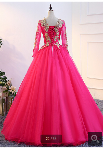 Free shipping fuchsia champagne ball gown lace appliques pearls prom dress modest long sleeve muslim women prom gowns hot sale