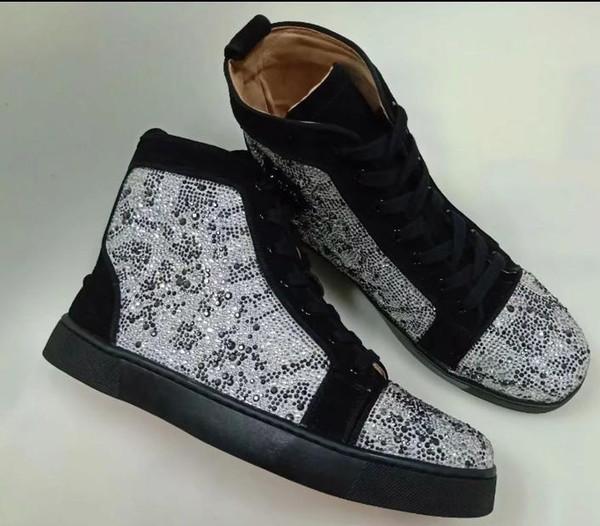 Leopar Rhinestone İçin Sneakers Ayakkabı Kırmızı Alt Kadınlar, Erkekler Ayakkabı Box, Nakliye Bag ile Yüksek Üst Açık Casual Süet Deri Strass Flats