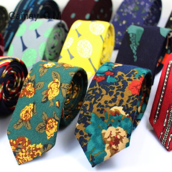 Corbatas de algodón con estampado nuevo de alta calidad para hombres Moda casual Mans corbata para boda 6 cm de ancho Adulto floral delgado novio