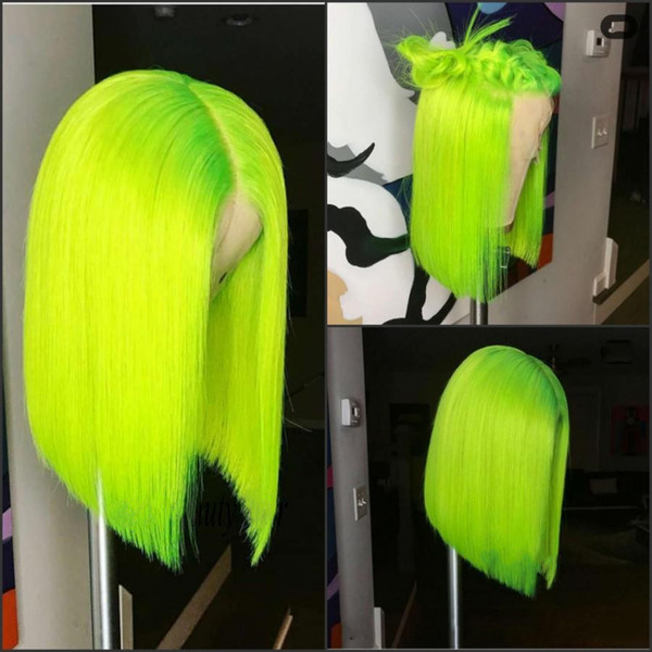 2019 New Cosplay Middle Part Swiss Lace Front Wigs Green Short Bob Wig 150% Density Heat Resistant Straight Synthetic Wigs For Black Women
