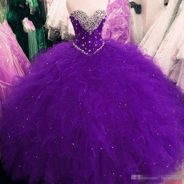 Quinceanera Kleider 2019 Modest Masquerade Ballkleid Abendkleid Sweet 16 Mädchen schnüren sich oben zurück Rüschen sweet-heart Full Length Rüschen