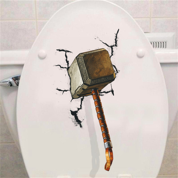 3d vivid Thor hammer broken wall stickers for kids rooms window toilet home decor pvc Avengers wall decals art diy mural posters D19011702
