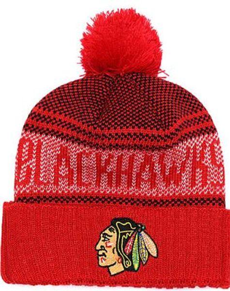 BLACKHAWKS Ice Hockey Knit Beanies Embroidery Adjustable Hat Embroidered Snapback Caps Orange White Black Stitched Hat One Size 02
