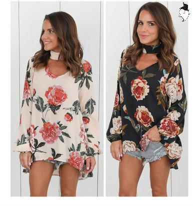 High quality Chiffon Blouse Women Clothes Autumn Floral Shirt With Long Sleeve Woman Sexy Shirts Clothes White Blouses Tops Girl Street Wear