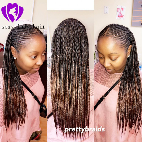 High Quality Africa Hair Braiding Hair Full Wig Ombre Brown Color Cornrow Braids Synthetic Lace Front Wig Box Braided Wig For Black Women Synthetic