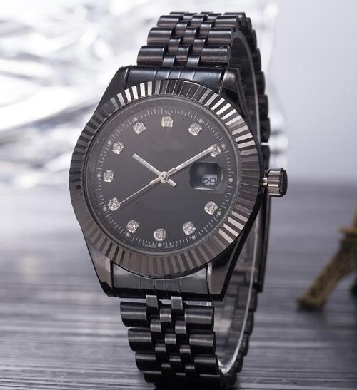 2019 Top Selling Luxury New Brand Men Watch Black Stainless Steel Black Dial Wristwatch Male Quartz Watches Double Calendar Wrist watch