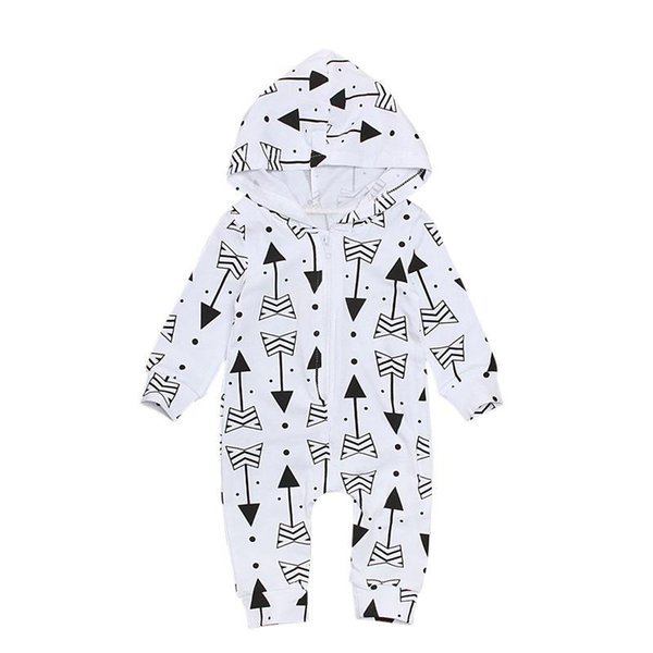 INS Baby arrow Print Rompers Infant Unisex Long Sleeve Hooded Jumpsuit Boy Girl Spring Autumn Onesie Playsuit