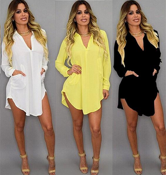 2019 Summer Sexy V Neck Short Beach Dress Chiffon White Mini Loose Casual T Shirt Dress Plus Size Women Clothing wholesale