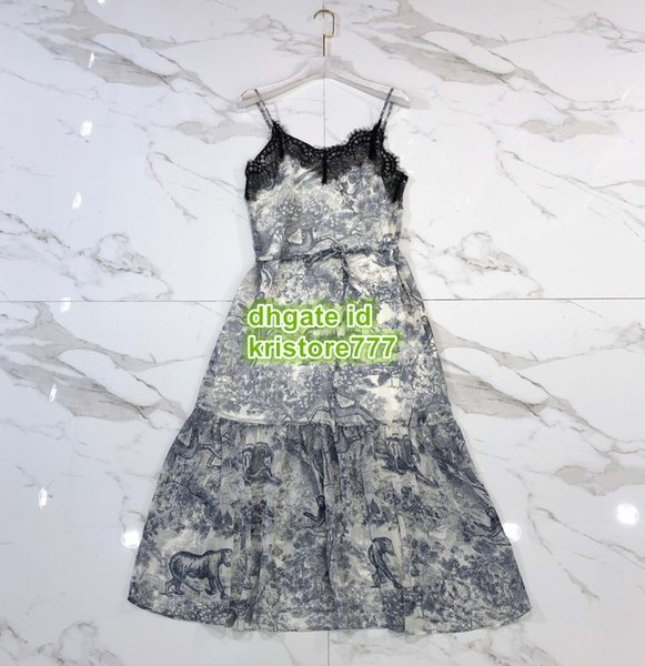 High End Women Vintage Jungle Camisole Tee Midi Dress With Lace T-Shirt Female Beads Runway Vest Mermaid Shirt Long Sling Dress SML