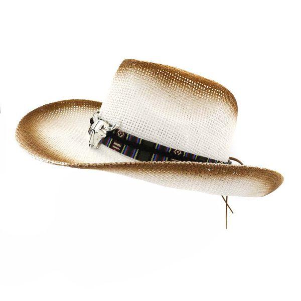 2019 Tinta Spray de Marrom Cabeça de Touro Decoração Mulheres Panamá Estilo chapéu Fita Arcos de Largura Da Brim Viseira Caps unisex Cowboy Palha Chapéu Fedora